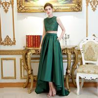 2019 New Simple Elegant Evening Gowns Bride Dark Green Two Pieces High/low Top Lace Formal Prom Party Dresses Robe De Soiree