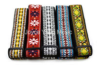 Niko Vintage Flowers Stripes Acoustic Electric Guitar Strap Woven Embroidery Fabrics Leather Ends Strap Free Shipping
