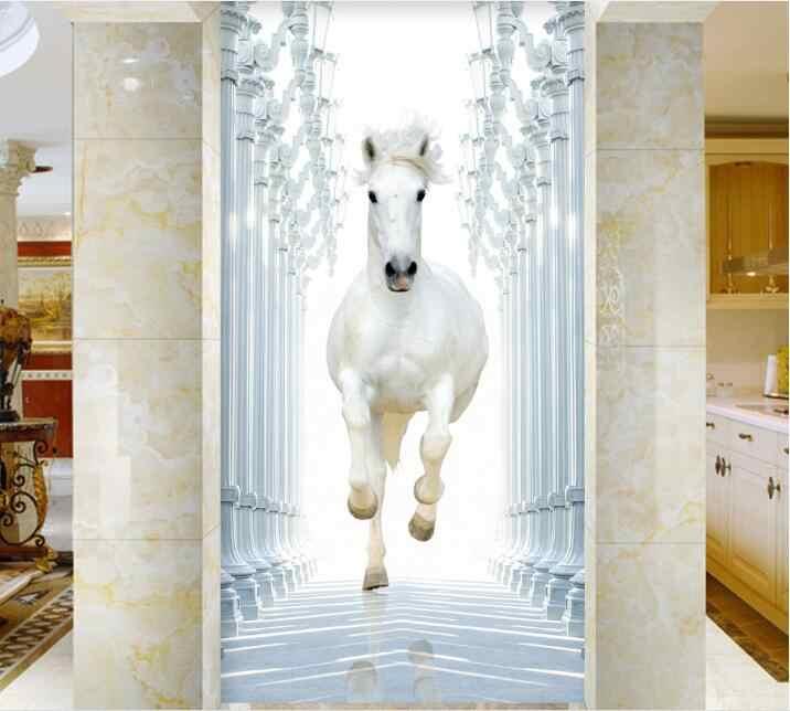 شحن مجاني 3D الأبيض الحصان تشغيل الباب ملصق لغرفة النوم غرفة المعيشة هدية الفن PVC للماء صائق الباب التفاف 77*200 سنتيمتر
