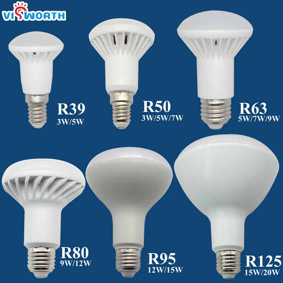 R50 lampe à Led E14 E27 Base 3 W 5 W 7 W 9 W 12 W 15 W 20 W Led Ampoule R39 R63 R80 Br30 Br40 Le Projecteur AC 110 V 220 V 240 V Chaud Blanc Froid