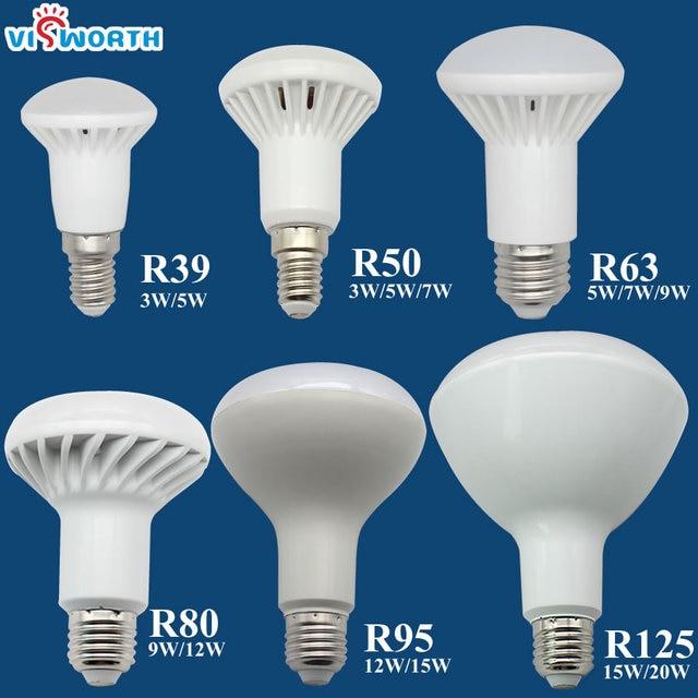 R50 Led lamp E14 E27 Base 3W 5W 7W 9W 12W 15W 20W Led Bulb R39 R63 R80 Br30 Br40 Spotlight AC 110V 220V 240V Warm Cold White
