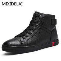 Men Boots 100 Genuine Leather Ankle Boots Lace Up Casual High Quality Cow Leather Boots Autumn