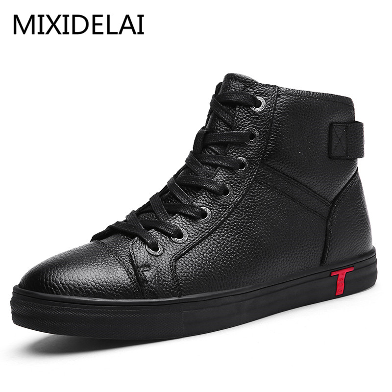 Men Boots 100% Genuine Leather Ankle Boots Lace-Up Casual High Quality Cow Leather Boots Autumn Winter Men Shoes Plus Size 38~48