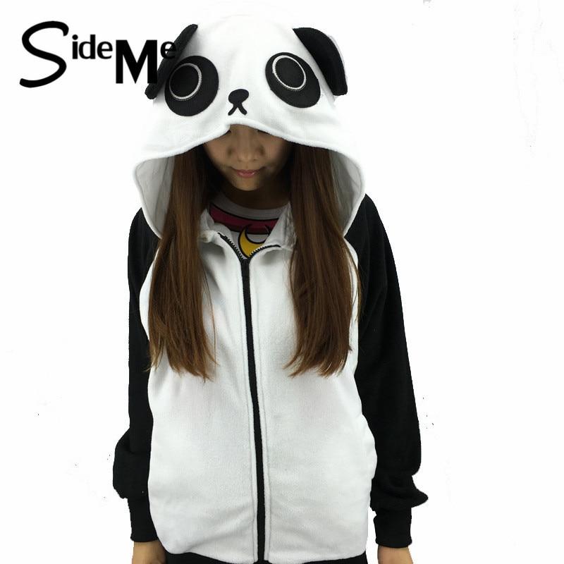 2017 New cosplay Cartoon Panda Women's Hoodies Sweatshirt Jacket Long Sleeve Warm China Panda Kawaii Clothes Hoodies With Ears