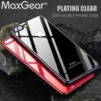 MaxGear For iphone 8 8plus case Luxury Electroplate soft TPU Silicone Protective cover cases For iphone 6 6s 7 case red Cover
