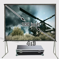 Adjustable Quick Fixing Projection Screen 100inch 4:3 Format With Transport Box For Cinema Office Projector