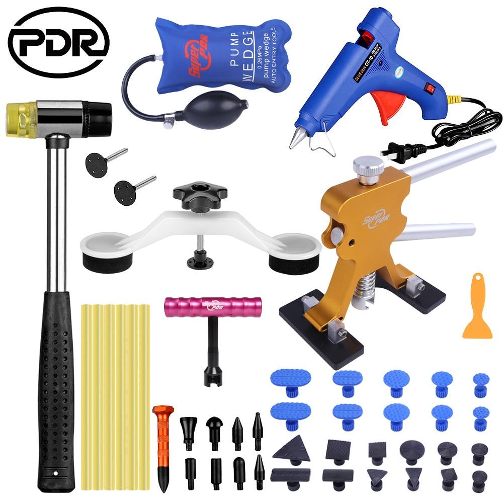 PDR Strumenti ammaccature Dell'automobile di rimozione Tools kit paintless dent repair Tool set dent puller Hot Melt Colla Stick Pistola di Colla Puller Tabs