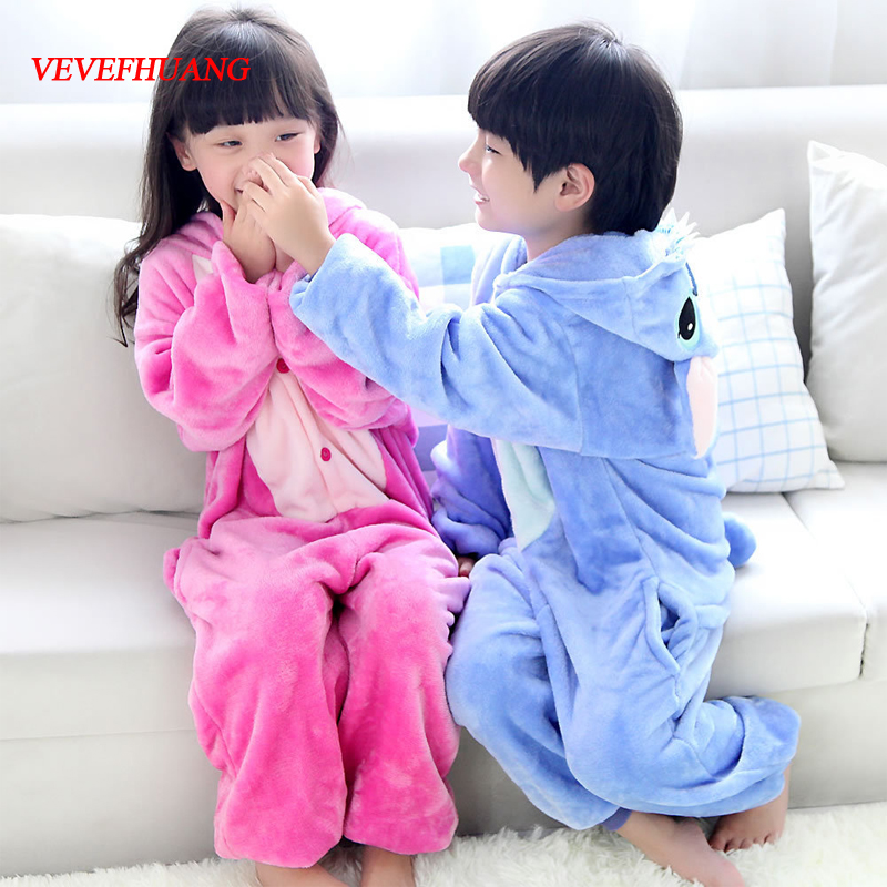 VEVEFHUANG Flannel Pajamas Kids Cosplay Costumes Blue Pink Stitch Sleepwear Children Boys Girls Cartoon Animal Onesies