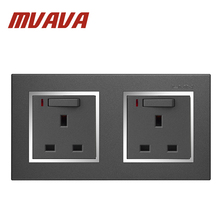 MVAVA Luxury Double 13A UK Socket Black PC Series Panel 1 Gang Switch And Wall With Neon Free Shipping