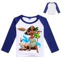 Llegadas al por menor niños de alta calidad de algodón T-shirt ropa de manga Larga T-shirt Trolls Moana niñas ropa de niños ropa de moda