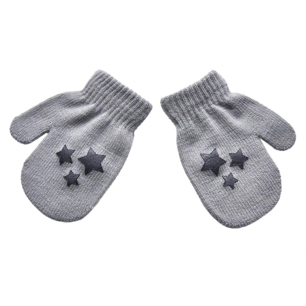 Star Heart Pattern Fashion Gloves Boys Girls Winter Warm Knitted Mitten