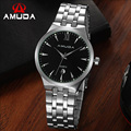 AMUDA Brand Stainless Steel Male Watches Silver Strap Quartz Watch Good Quality Man Dress Watch Sports Day Date Watches