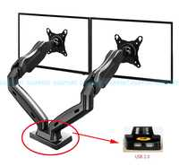 "Gas Spring 360 Degree Desktop 17""-27"" Dual Monitor Holder Arm with Two USB Ports 2.0 Full Motion Dual Arm Monitor Mount Bracket"