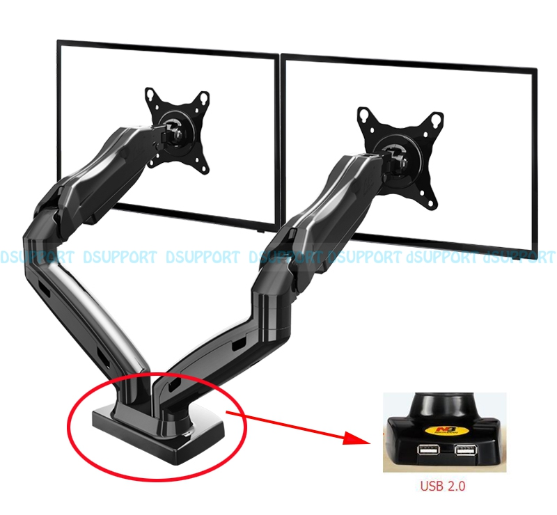 Gas Spring 360 Degree Desktop 17-27 Dual Monitor Holder Arm with Two USB Ports 2.0 Full Motion Dual Arm Monitor Mount Bracket nb f180 gas spring full motion 17 27 dual screen monitor holder desktop clamping or grommet tv mount with usb and audio port