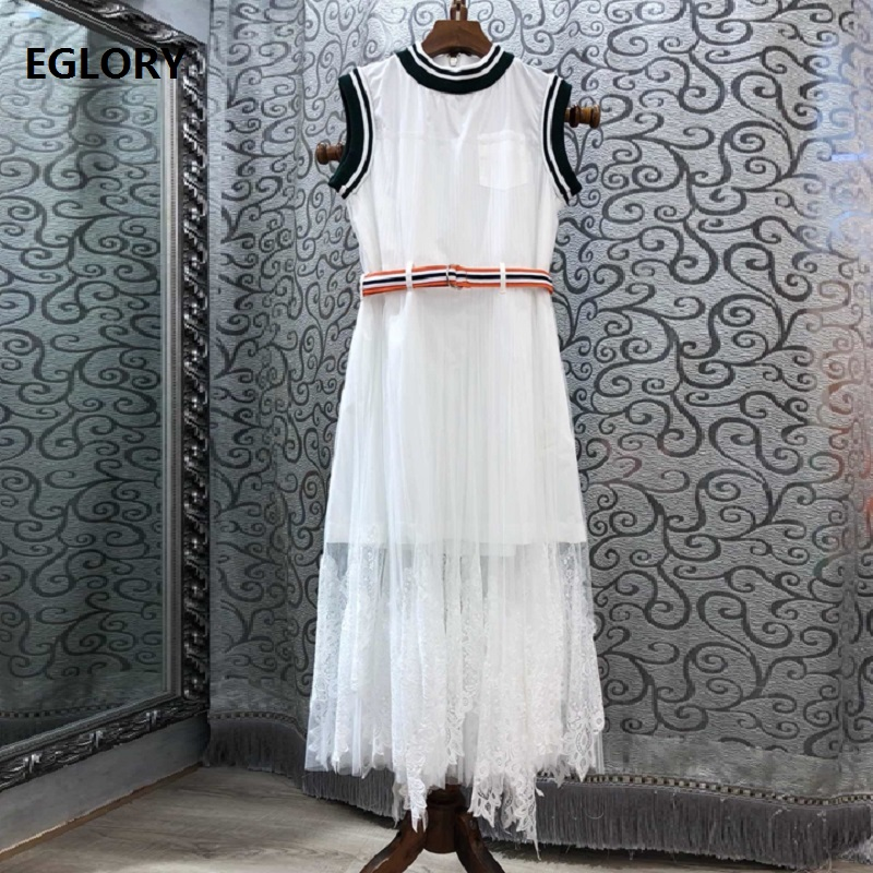 Haute qualité marque dentelle robe 2019 été Style femmes couleur bloc couture à manches courtes bleu dentelle fête Midi robe blanche ceintures