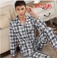 Pijama dos homens Primavera Outono dos homens de Manga Longa de Algodão Sleepwear Terno Xadrez Cardigan Pijamas Conjuntos de Pijama Dos Homens 3xl Salão conjunto