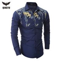 Hot Sell 2017 New Brand Men Dress Shirts Men Shirt Slim Fit Male Retro print Casual Long sleeve Shirt Camisa Masculina Men shirt