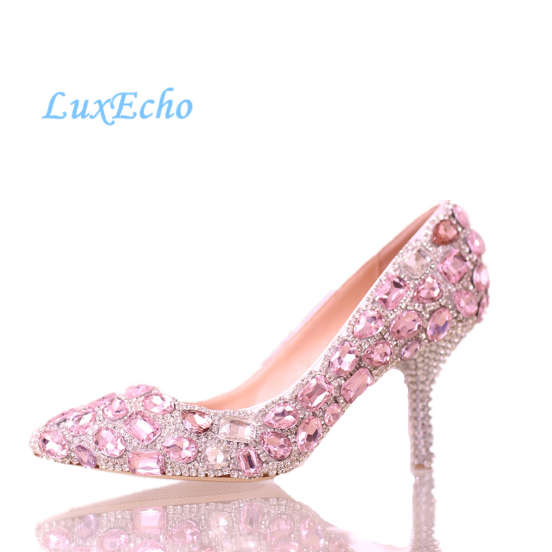 Pink crystal wedding shoes the bridesmaid shoes high-heeled pointed toe shoes rhinestone princess single pumps woman the unknown bridesmaid