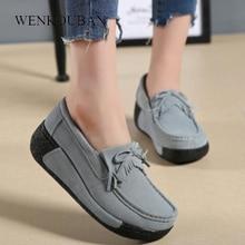 Zapatos planos de piel auténtica para Mujer, mocasines con plataforma, informales, sin cordones