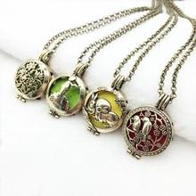 4PCS Mixed Vintage Bronze Rabbit Flower Bird Prince Design Alloy Essential Oil Diffuser Trendy Locket Pendant Necklace Jewelry