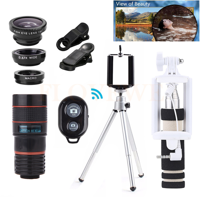 All in 1 Phone camera lenses 8X Zoom Telephoto Lentes Telescope Macro Wide Angle Fisheye Lens Telescope For iPhone Huawei Meizu