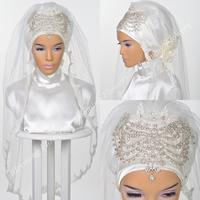 Muslim Bridal Hijab 2019 Crystals Beading Islamic Wedding Veils Lace Appliques Turban for Brides Elbow Length