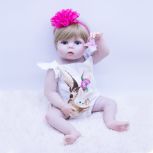 Realistic 55 cm silicone reborn baby doll girl vinyl body babies dolls blonde hair princess Waterproof toys alive bebe gift