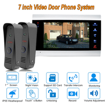 2017 new 7″ TFT  1200TVL Video Door Phone Doorbell Intercom System Home Security Camera Monitor with ip65 Rainproof 2 V 1