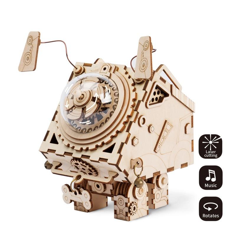 Robotime Steampunk Draaibare DIY Seymour Houten Clockwork Muziekdoos - Huisdecoratie