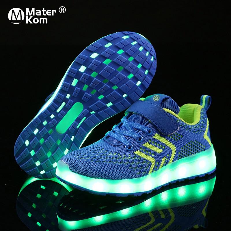 サイズ 25 37 USB 充電器グローイングスニーカー LED 子供照明靴発光スニーカー少年少女のためのイルミネーション点灯靴    グループ上の ママ