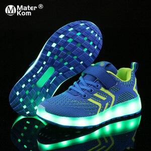Image 1 - サイズ25 37 usb充電器グローイングスニーカーled子供照明靴発光スニーカー少年少女のためのイルミネーション点灯靴