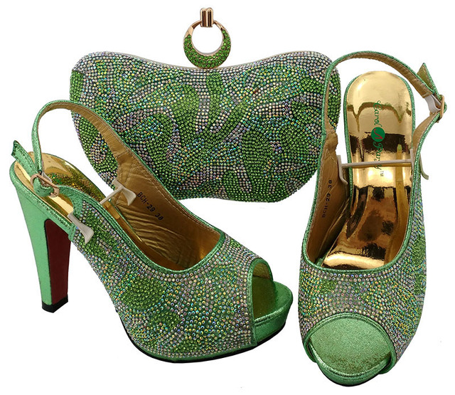 SB8104 fashion water green sandal shoes with matching evening clutches bag  italian elegant nice designs with size 38 to 42 9377b717ff08
