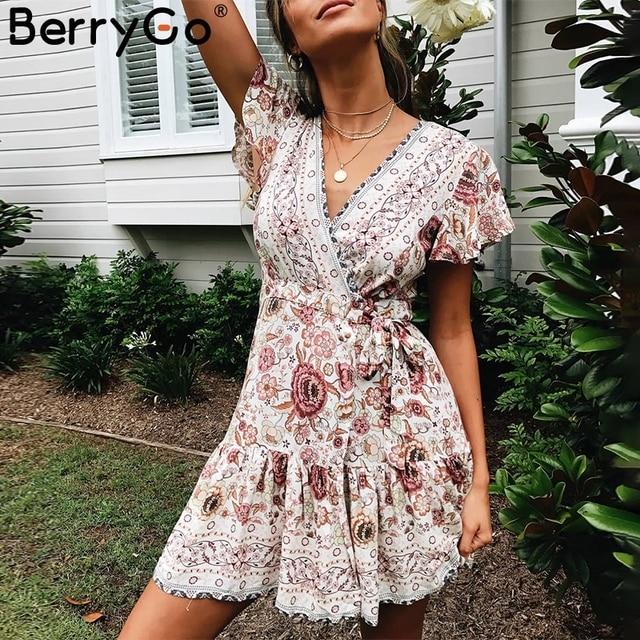 BerryGo czeski kwiatowy kobiet mini sukienka z dekoltem w kształcie litery V wrap skrzydła druku sukienki z falbanami kobiet 2019 lato elegancki wakacje plaża sundress
