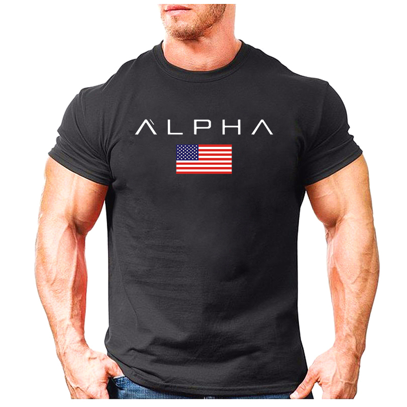 2019 Cool Men's Fashion T-shirts By ALPHA Industries Short Sleeve Summer T-shirt 100% Cotton Casual Cozy T Shirts Tops