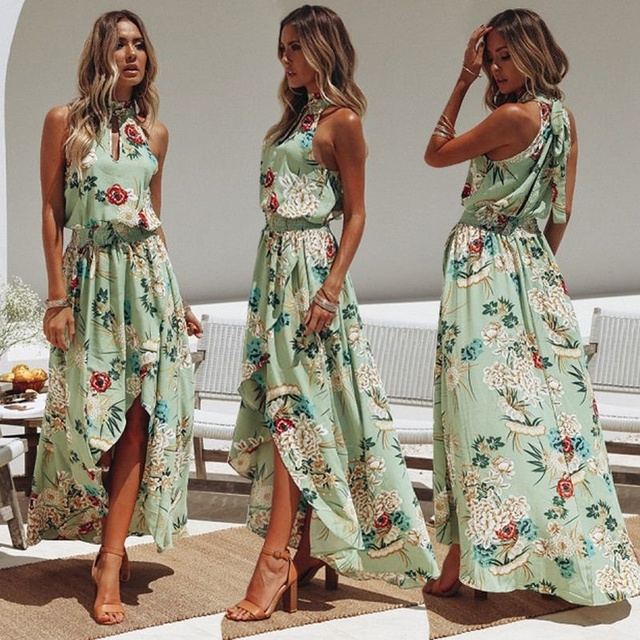 30b8d742d0629 ZOGAA Boho Womens long dress Holiday Halter Off Shoulder Empire Floral Maxi  Ladies Summer Beach Party Dress