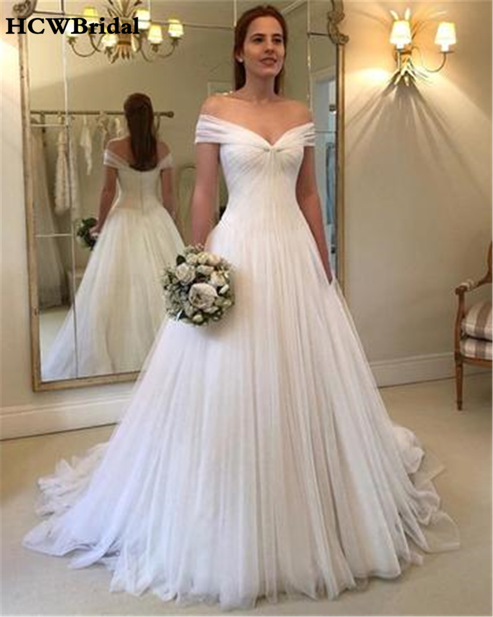 Charming White Tulle Wedding Dress Off The Shoulder Boat