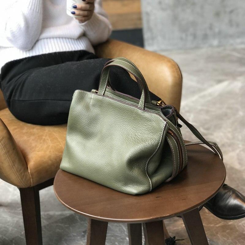 Nouveauté 2019 Véritable sacs en cuirs Femmes Vintage Oreiller Vache Sac À Main En Cuir Dames Solide décontracté Petite Bandoulière sac à bandoulière
