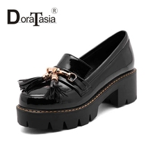 Big Size 33-43 New Arrivals Women Chunky Heel Rubber Sole Tassel Shoes Patent Upper Platform School Girl's Casual Pumps