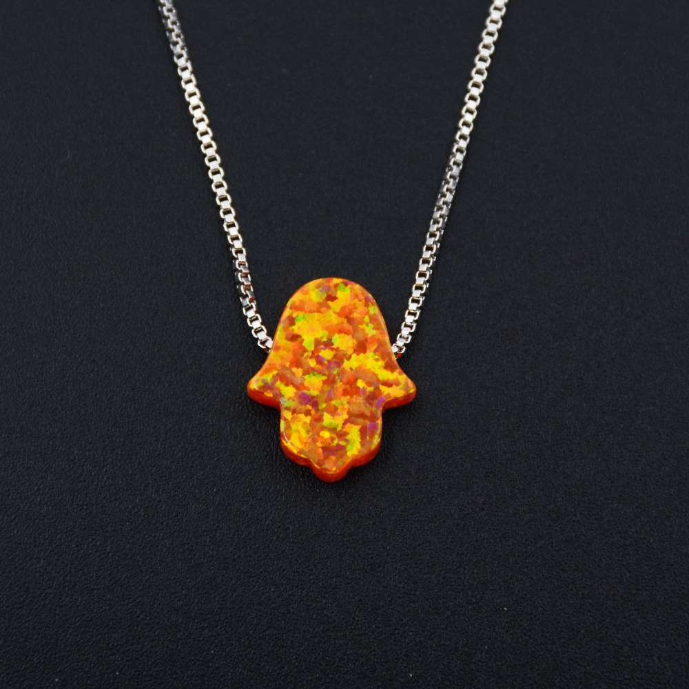 Hamsa Hand Pink  Yellow Fire Opal Pendant Necklace for Women 11 * 13 cm