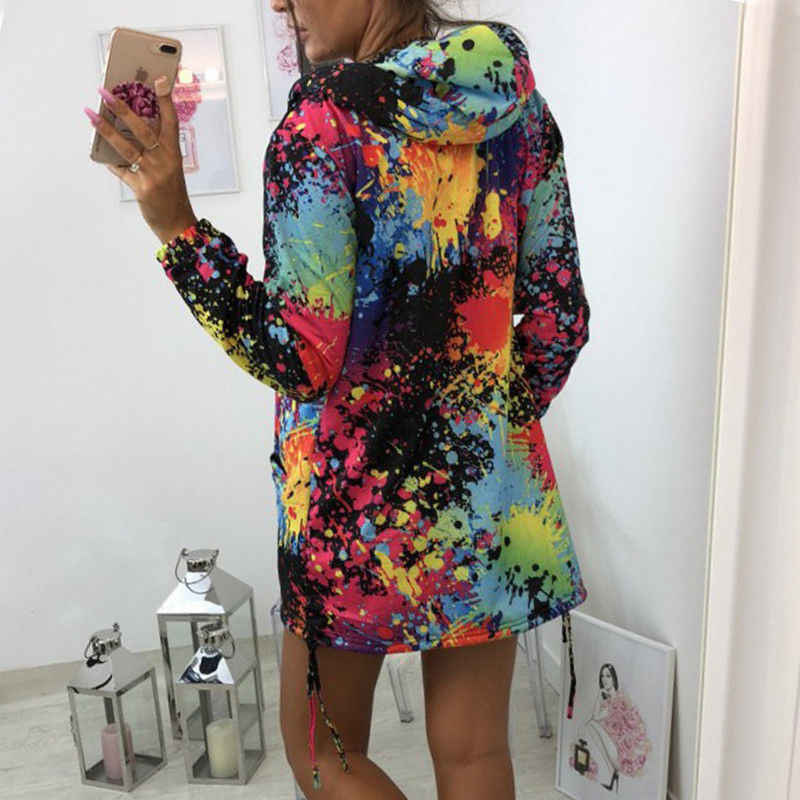 Autumn Women Ladies Zipper Tops Hoodie Hooded  Colorful Graffiti Coat Jacket Casual Slim Thin Jumper