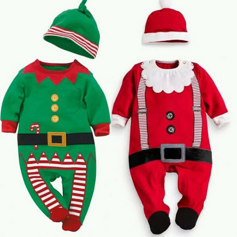 Christmas Clothing Set Cotton Holiday Outfits Hat+Jumpsuits 2 Pieces Romper Sets Santa Clause For Kids Girls Boys Clothes Set