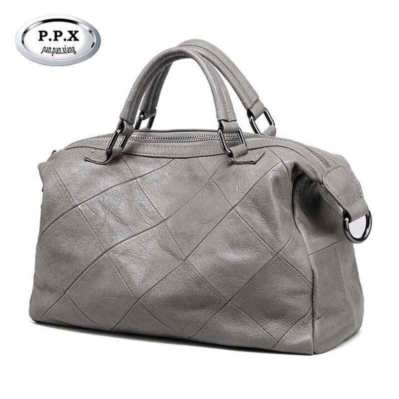 Фотография P.P.X 2018 New Trend Cowhide Women Handbags Fashion Lattice Women Shoulder Bags Genuine Leather Woman Crossbody Bag Casual M707