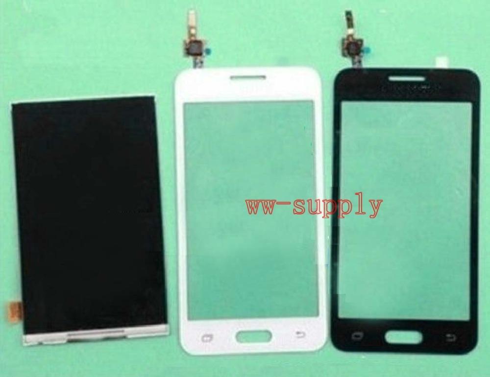 Prix pour A + + LCD Display + Avant Écran Tactile En Verre Digitizer Panneau Capteur Pour Samsung Galaxy Core 2 SM-G355H/DS G355H + Adhésif + Kits
