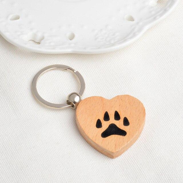 Cão/Gato bonito Keychain da forma Do Coração Do Animal de Estimação Da Pata Pata Chaveiro cinto telefone Celular ornamento para animais do presente do amante