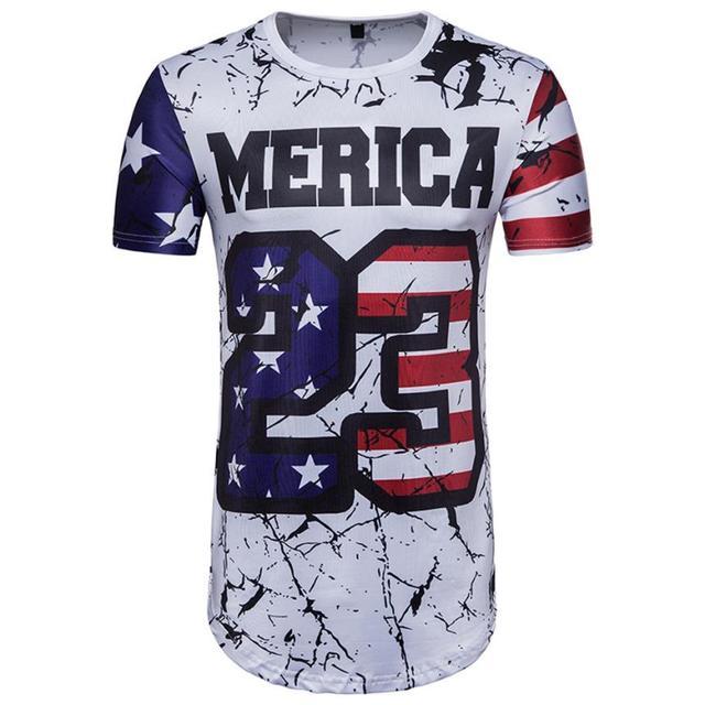 snowsong # 5003 Freeshipping  World Cup Summer  3D Print Letter Short Sleeve T-shirt For Men