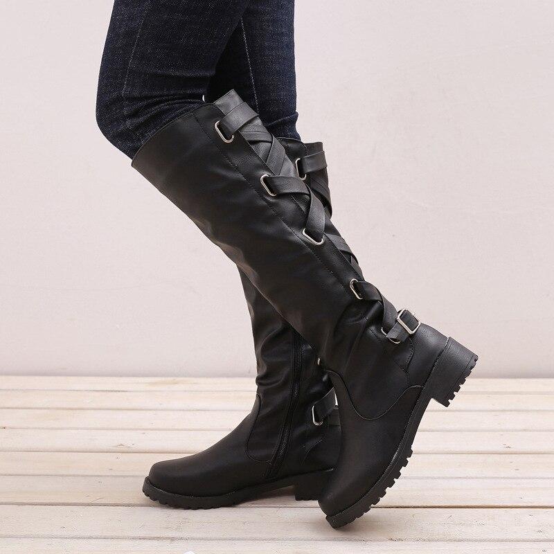 8479334967120e Taille coffee Chaussures Talons Rétro D'hiver Lace Bottes Noir Plus Up  Longues Mi Femmes Mode Dames mollet ...