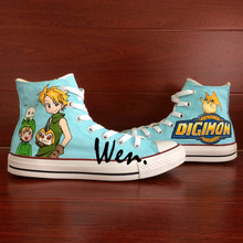 Wen Customed Boys Girls High Top Anime Digimon Adventure Hand Painted Canvas Shoes Design Birthday Gifts Breathable Sneakers