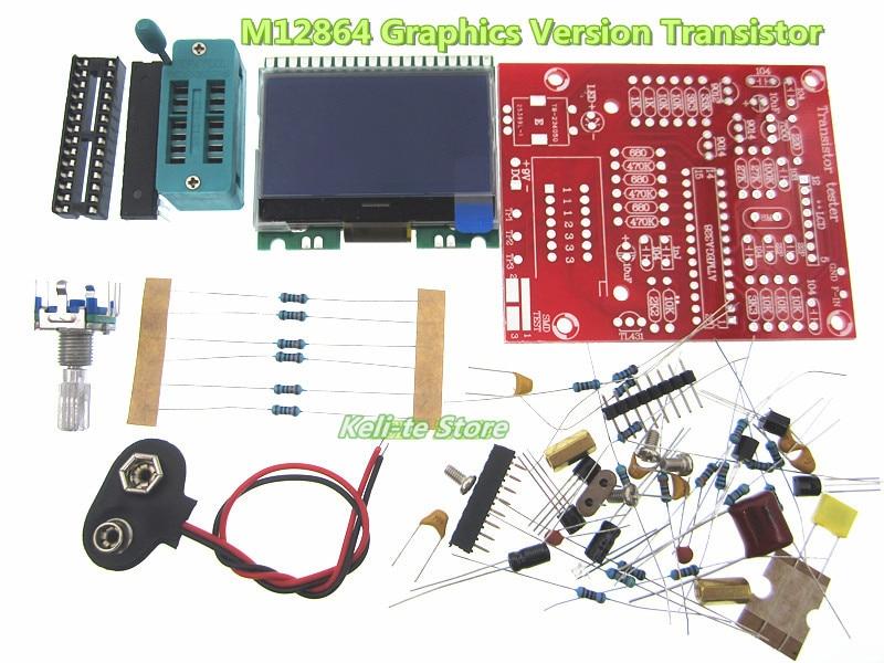 Factory Wholesale new DIY M12864 Graphics Version Transistor Tester Kit LCR ESR PWM diy m12864 graphics version transistor tester kit lcr esr pwm with case