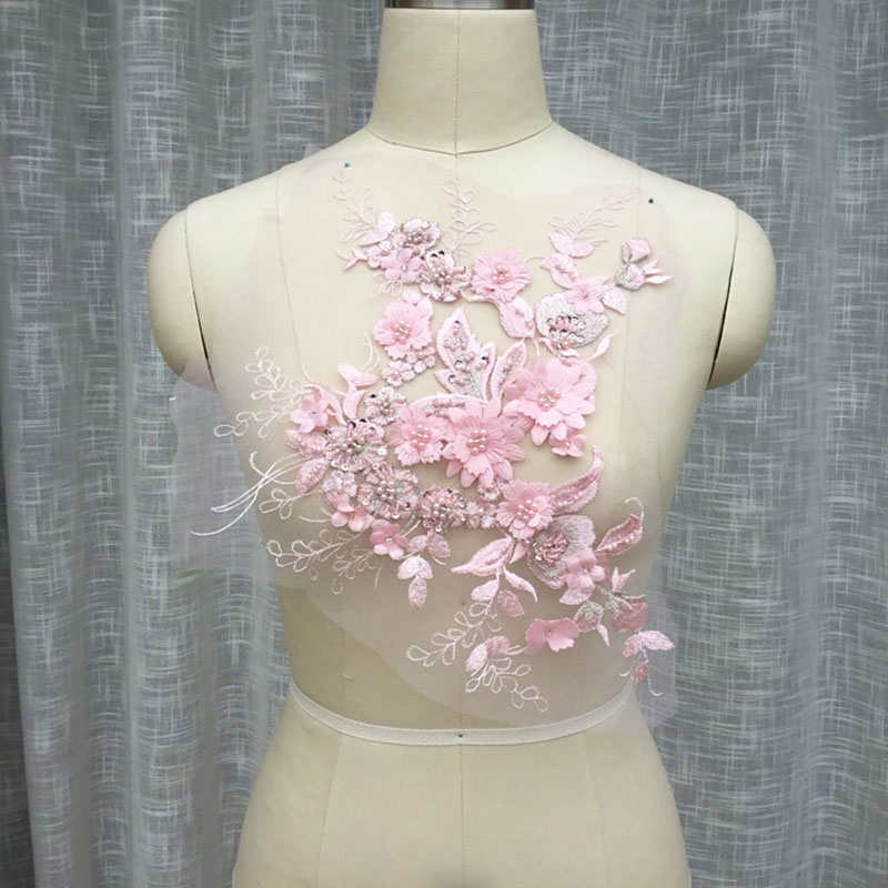 1 Pc Pink Lace Fabric Beaded