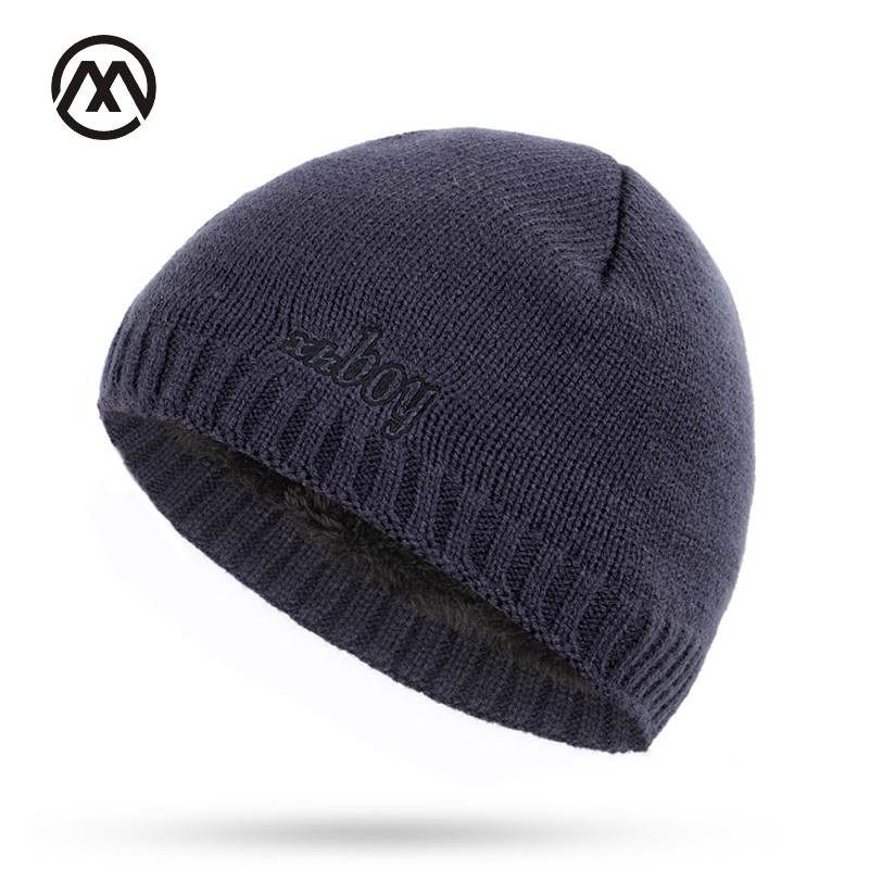 New autumn winter men's knit hats plus velvet thick warm and comfortable loose delicate embroidery xhboy caps   skullies     beanie